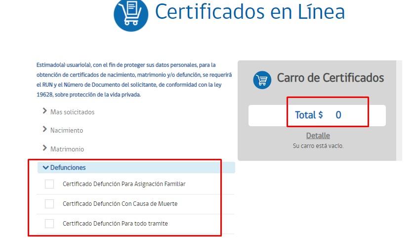certificado de defunciones